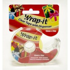 Wrap-it Clear Tape W'Disp Clip -19mmX20m (24 pk)